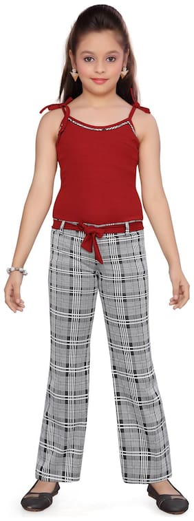 Aarika Cotton Checked Maroon & Grey Jumpsuit For Girls
