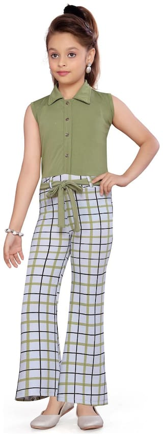 Aarika Cotton Checked Green & White Jumpsuit For Girls