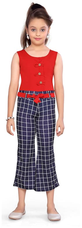 Aarika Cotton Checked Red & Blue Jumpsuit For Girls