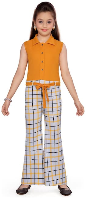 Aarika Cotton Checked Yellow & White Jumpsuit For Girls
