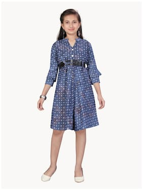 Aarika Blue Cotton 3/4th Sleeves Knee Length Princess Frock ( Pack of 1 )