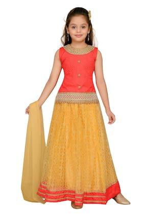 Aarika Girl Silk Solid Lehenga Choli - Orange