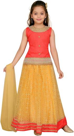 Aarika Girl's Silk Solid Sleeveless Lehenga choli - Orange