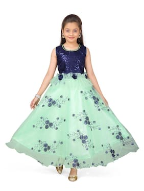 Aarika Girl's Polyester Self design Sleeveless Gown - Blue