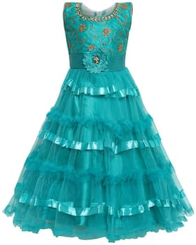 Aarika Girl's net Gown Girl Green