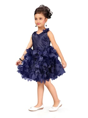 Aarika Blue Polyester Sleeveless Knee Length Princess Frock ( Pack of 1 )