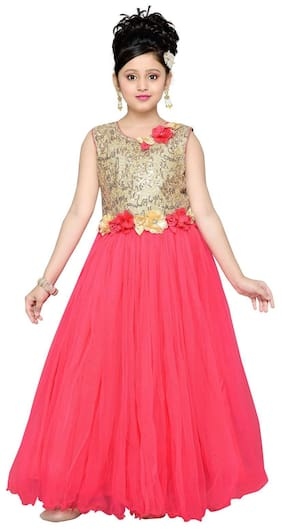Aarika Girl Net Embellished Gown - Red