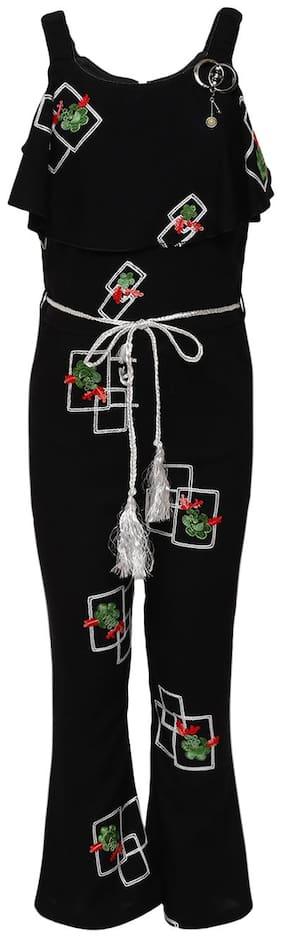 Aarika Girl's Cotton Jumpsuit Black