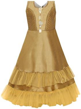 Aarika Girl's Silk Gown  Girl Gold