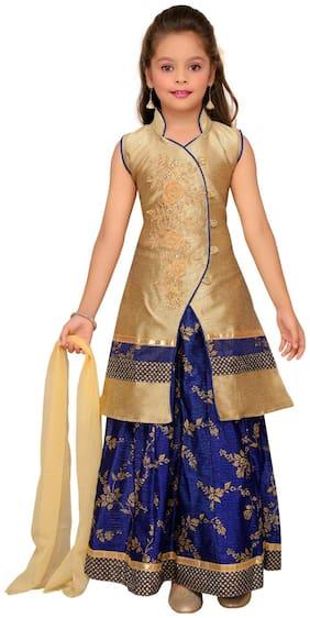 Aarika Girl's Silk Solid Sleeveless Lehenga choli - Gold