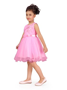 Aarika Pink Net Sleeveless Knee Length Princess Frock ( Pack of 1 )