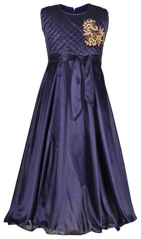Aarika Girl Satin Embellished Gown - Blue
