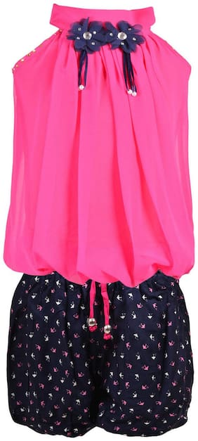 Aarika Girl Chiffon Top & Bottom Set - Pink