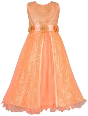 Aarika Girl's Net Embellished Sleeveless Gown - Orange
