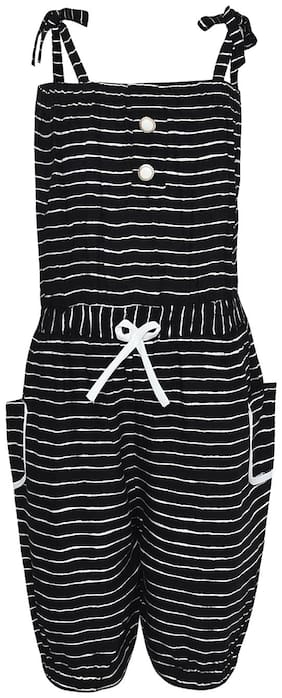 Aarika Rayon Striped Bodysuit For Girl - Black