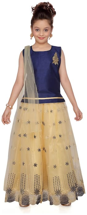 Aarika Girl's Silk Self design Sleeveless Lehenga choli - Blue