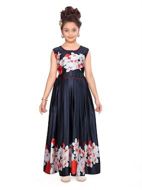 Aarika Girl's Silk Floral Sleeveless Gown - Red