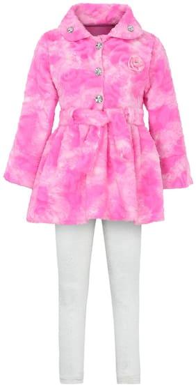 Aarika Girl Wool Top & Bottom Set - Pink