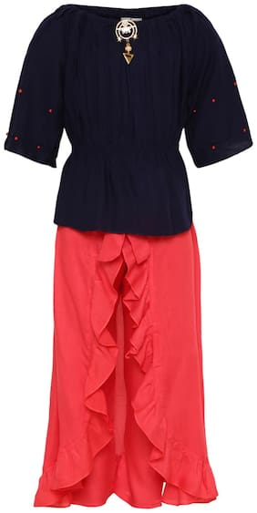 Aarika Girl's Cotton Solid 3/4th sleeves Kurti & salwar set - Pink & Blue