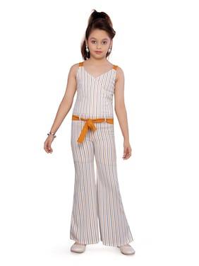 Aarika Cotton Striped Romper For Girl - Yellow