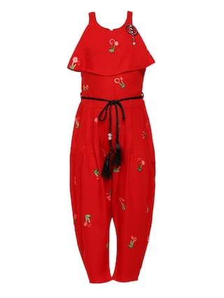 Aarika Cotton Self design Bodysuit For Girl - Red