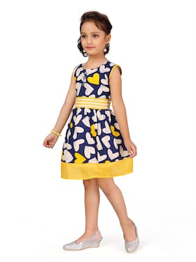 Aarika Yellow Cotton Sleeveless Knee Length Princess Frock ( Pack of 1 )