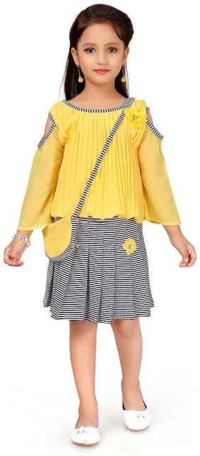 Aarika Girl Georgette Top & Bottom Set - Yellow