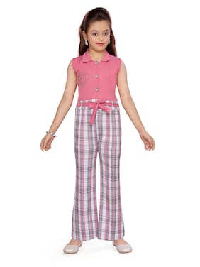 Aarika Cotton Checked Romper For Girl - Pink