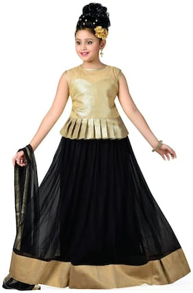 Aarika Girl's Satin Solid Sleeveless Lehenga choli - Black