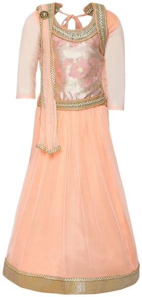 Aarika Girl's Brokit Lehenga Choli & Dupatta Set (Peach)