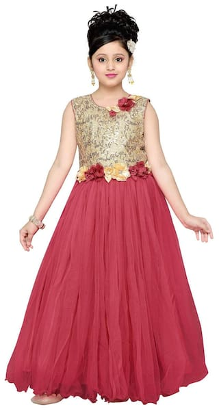 Buy Aarika Girl Net Self Design Gown - Red Online at Low Prices in ...