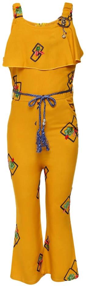 Aarika Girl's Cotton Jumpsuit Yellow
