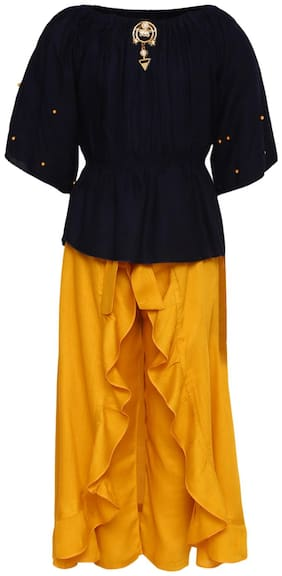 Aarika Girl's Cotton Solid 3/4th sleeves Kurti & salwar set - Yellow & Blue
