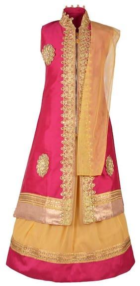 Aarika Girl Net Embellished Lehenga Choli - Beige