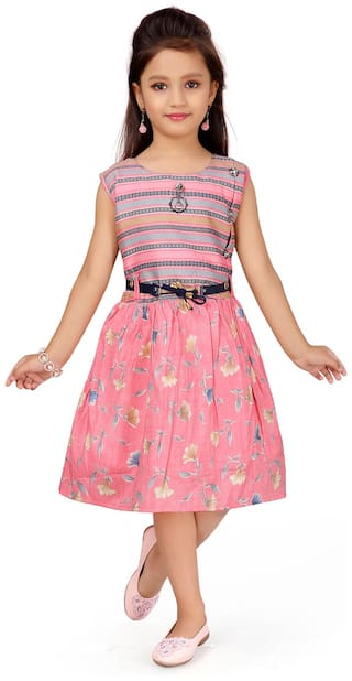 Aarika Girl's Pink coloured Party Wear Dress With Belt
