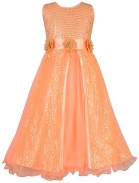 Aarika Girl's Net Embellished Sleeveless Gown - Orange