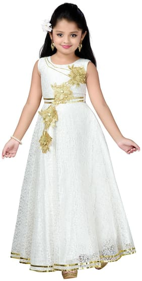 Aarika Girl's Satin Embellished Sleeveless Gown - White