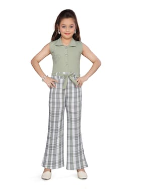 Aarika Cotton Checked Romper For Girl - Green