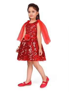 Aarika Red Polyester Sleeveless Knee Length Princess Frock ( Pack of 1 )