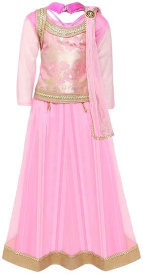 Aarika Girl's Brokit Lehenga Choli & Dupatta Set (Pink)