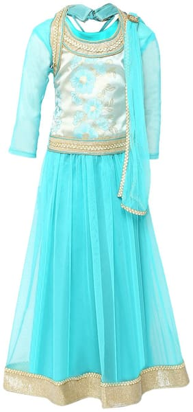 Aarika Girl's Brokit Lehenga Choli & Dupatta Set (Blue)