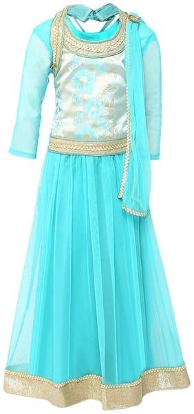 Aarika Girl's Brokit Lehenga Choli & Dupatta Set (Blue)