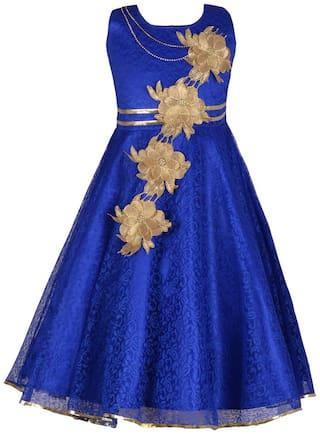 Aarika Baby girl Net Solid Princess frock - Blue