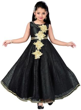 Aarika Girl's Satin Embellished Sleeveless Gown - Black