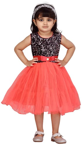 Black;Light Red Fit And Flare Dress