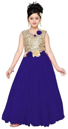 Aarika Girl Net Embellished Gown - Blue