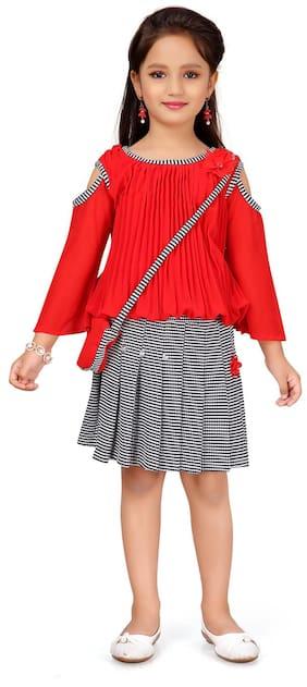 Aarika Girl Georgette Top & Bottom Set - Red