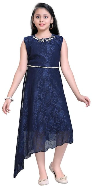 a0107f774 Buy Aarika Girl Net Self Design Gown - Blue Online at Low Prices in ...