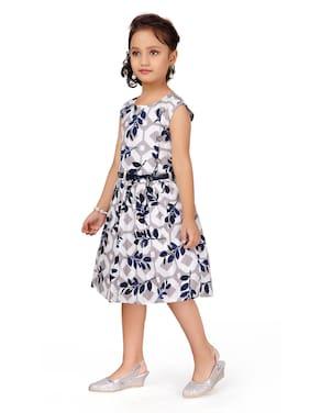 Aarika Blue Cotton Sleeveless Knee Length Princess Frock ( Pack of 1 )