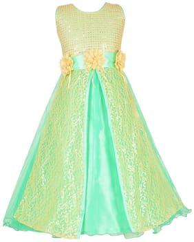 Aarika Girl's Net Embellished Sleeveless Gown - Green